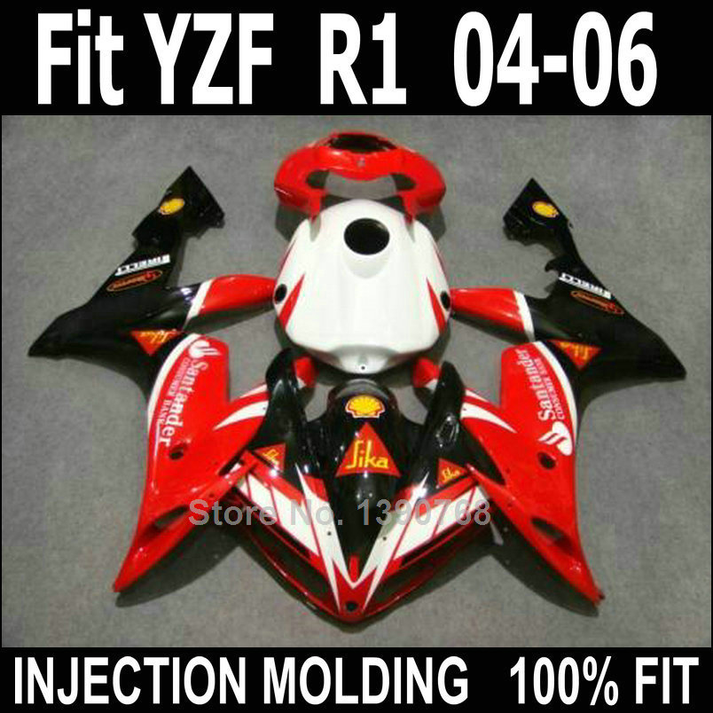 Bodywork kit for Yamaha injection molded fairings YZFR1 2004-2006 red white black body work fairing kit YZFR1 04 05 06 NV20