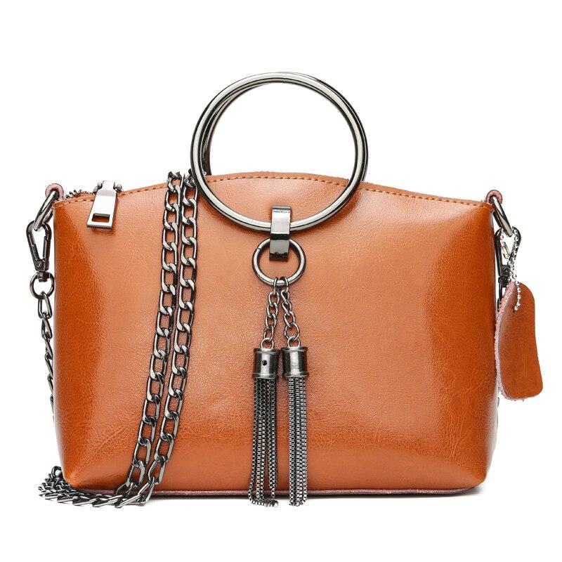 Ladies handbag 2018 New Leather Shoulder Bags Chain Wild Messenger Bag