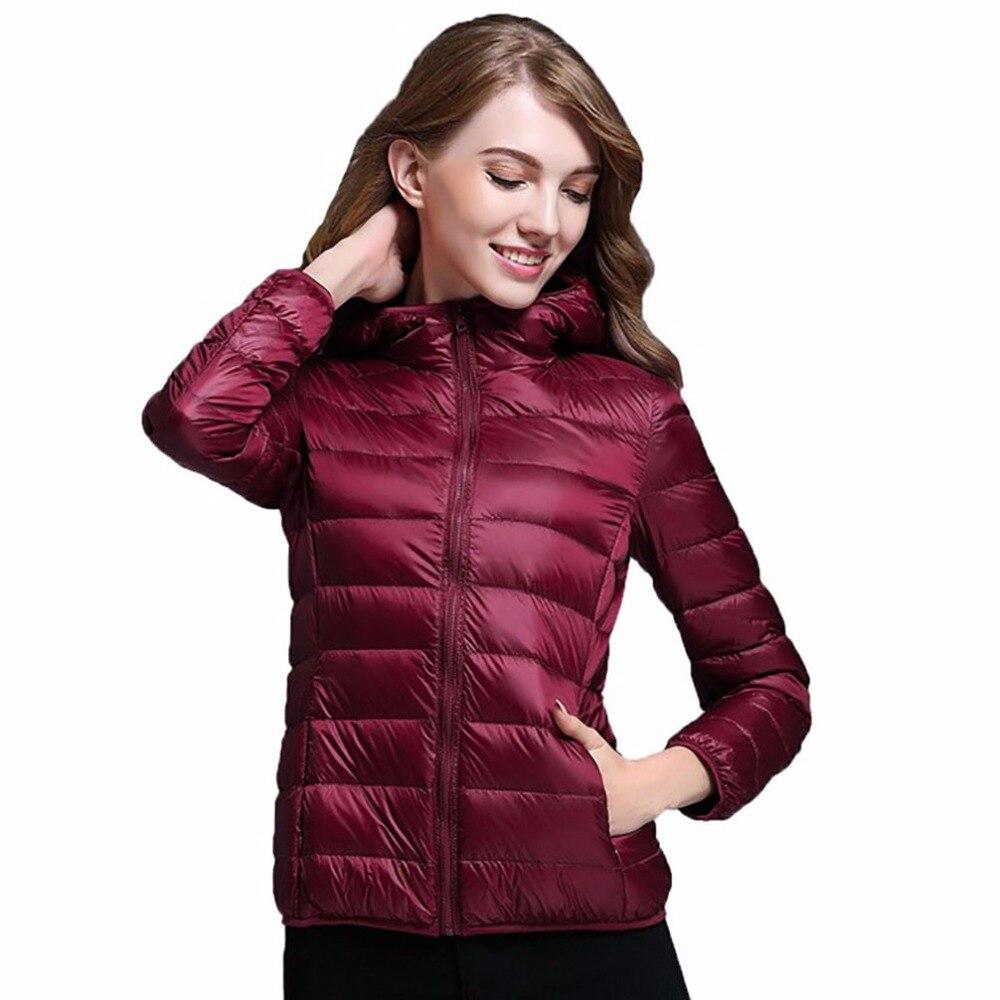 2018 New Brand Spring Autumn Winter Women Parka Ultra Light Down Parka 90% White Duck Down Jacket Womens Hooded Coat Down S-3XL