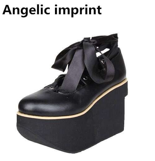 Angelic imprint woman mori girl lolita cosplay punk shoes lady high heels pumps wedges women princess