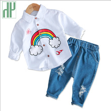 Toddler Boys Clothing Set Spring Rainbow Suit Baby Boy Dress Shirt+pants 2pcs/set Outfits Suit Sport Kids Clothes Set Costumes цены онлайн