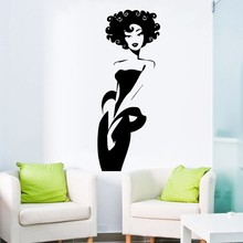 High Quality Sexy Slender Woman Home Decoration Wall Decal Beautiful Afro Girl Black Chick Salon Spa Mural Y-381