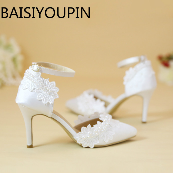 White Pearl Lace Flowers Pointed Wedding Shoes Women High Heels Shoes Hollow Wristband Bridal Shoes Girl Buckle Dress Shoes