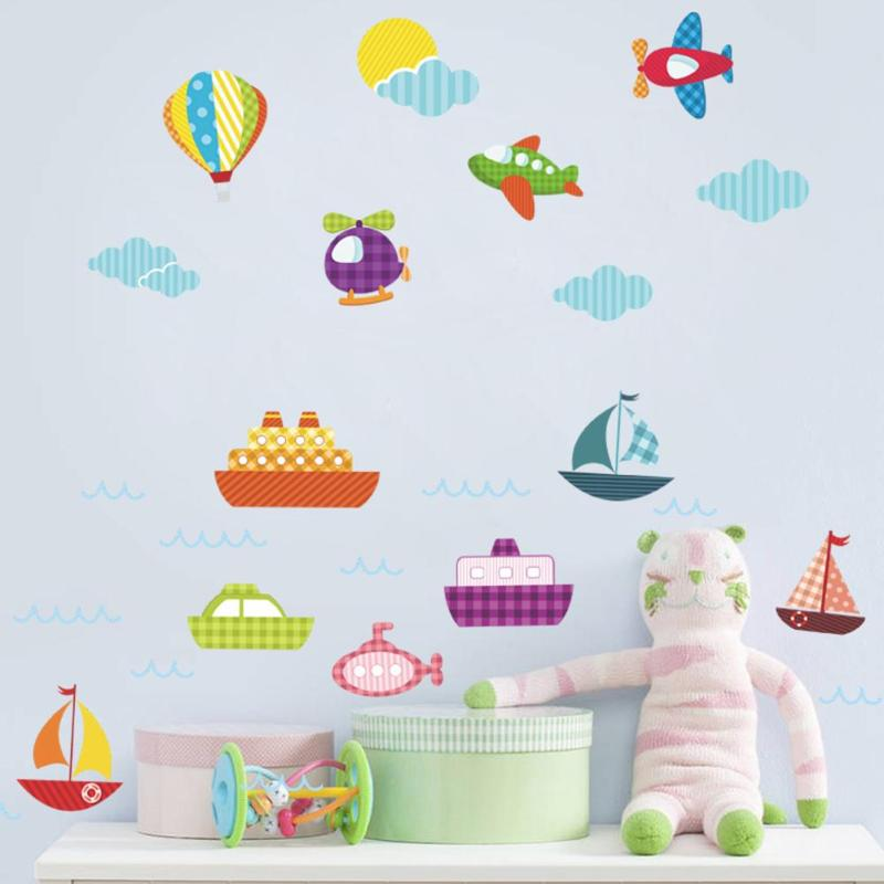 Cartoon Hot Air Balloon Wall Stickers Kids Rooms Vehicles Wall Decals Art  Poster Photo Wallpaper Home Decor Mural Decal L20 In Wall Stickers From  Home ...