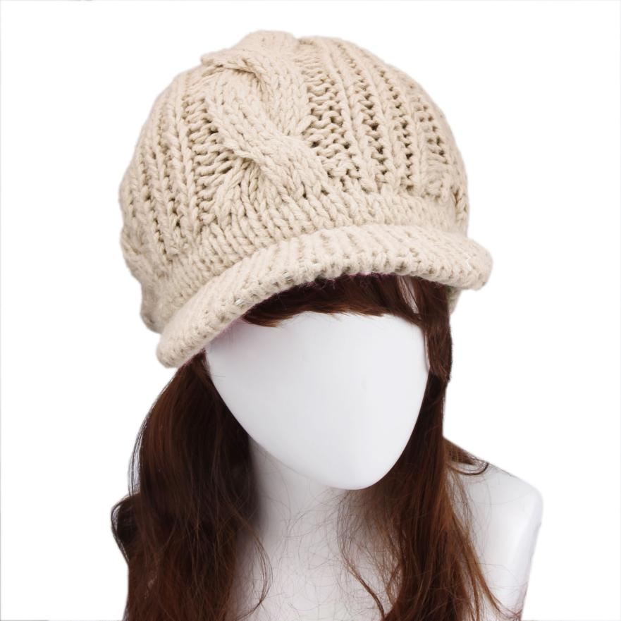 Sali 2017 Newly Design Women's Fashoin Knitted Wool Twisted Visor Hat Winter Caps
