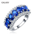 Hot Fashion S925 Stamp Solid Silver Rings for Women Luxury Blue Cubic Zircon New Trendy Jewelry Engagement Ring YR009