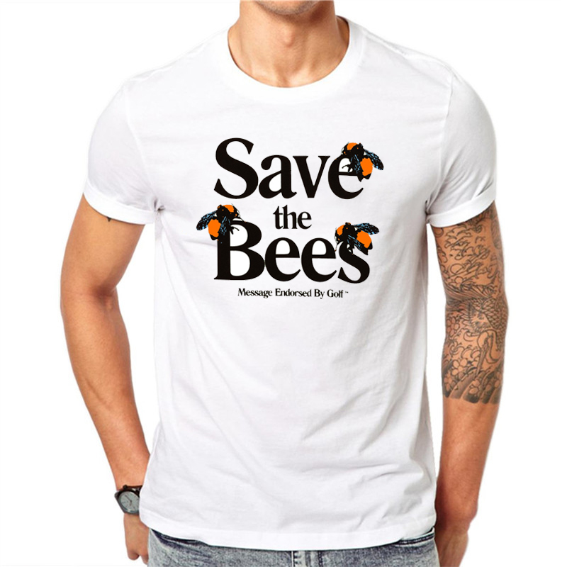 Tyler The Creator   T     Shirt   2019 New Summer Fashion Men Casual White Short Sleeve Streetwear Harajuku Letter Save The Bees   T  -  Shirt