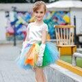 2016 Summer Girls Set Flowers Dress For Girls For Wedding Party Summer Princess Rainbow Prom Dresses For Girl Costume PT68