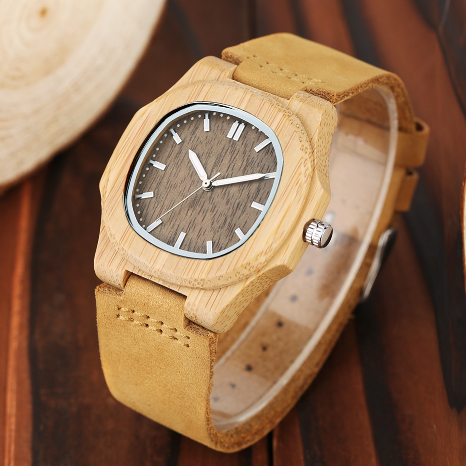 2017 New arrivals Wood Watch Natural Light Wooden Face Fashion Genuine Leather Bangle Unisex Gifts for Men Women Reloj de madera Christmas Gifts (8)