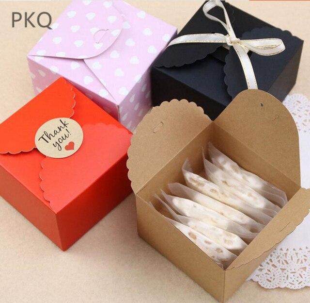 50 stuks Rood/Zwart/Bruin Papier Doos Bruiloft Gunsten Snoep Doos Kleine Gift Box voor Sieraden DIY cookie/Muffin Verpakking 9x9x6 cm
