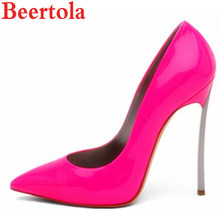 8d0f65dfb940 Beertola Brand Woman Shoes Hot Sale For 11.11 Patent Leather Dress Pumps  Metal Thin High Heel Pointed Toe Slip-on Banquet Shoes