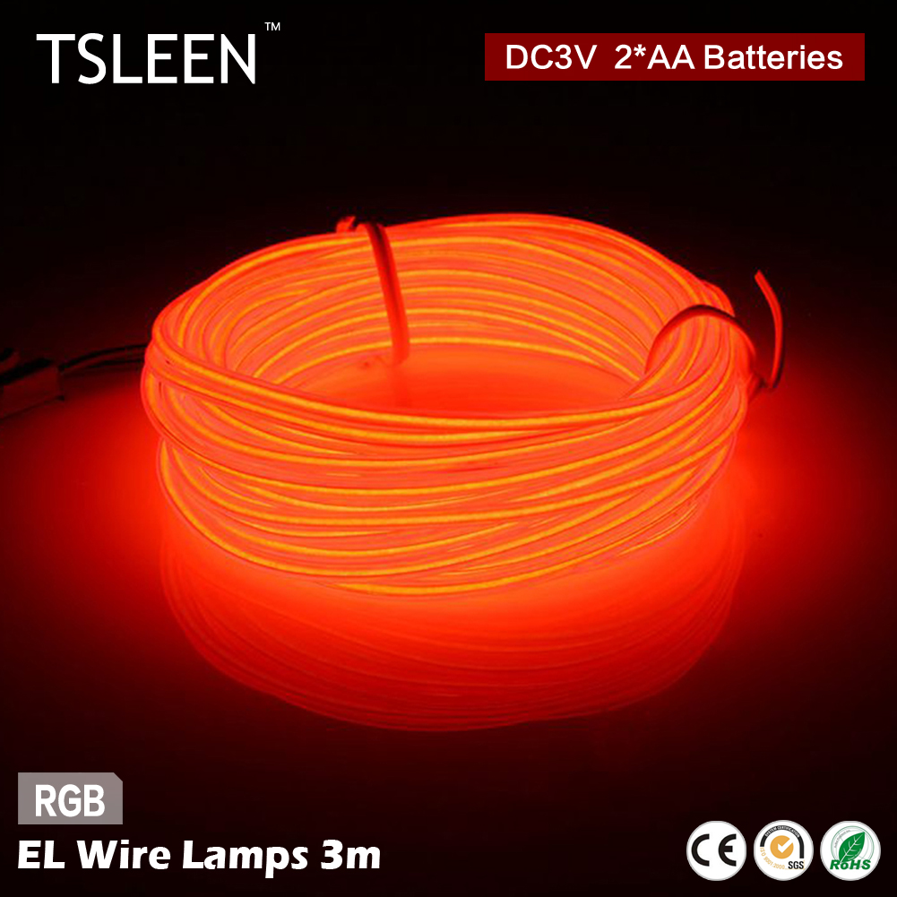 TSLEEN 9.9ft Colorful EL Wire LED Light String Strip Rope Car Dance Party Flashing/Strob ...