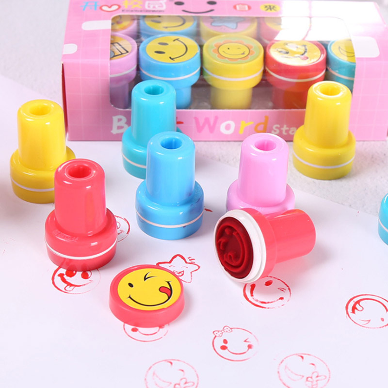 Office Supplies Round Smiley Face Cartoon Seal Children Gifts Multicolor Stamp Toys Kindergarten Teaching Aids