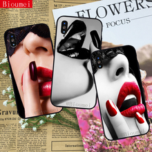 Bioumei sexy red lips Soft TPU Case for iphone XR XS Max Cover Coque 7 8 5 5S 6 6S Plus X 34