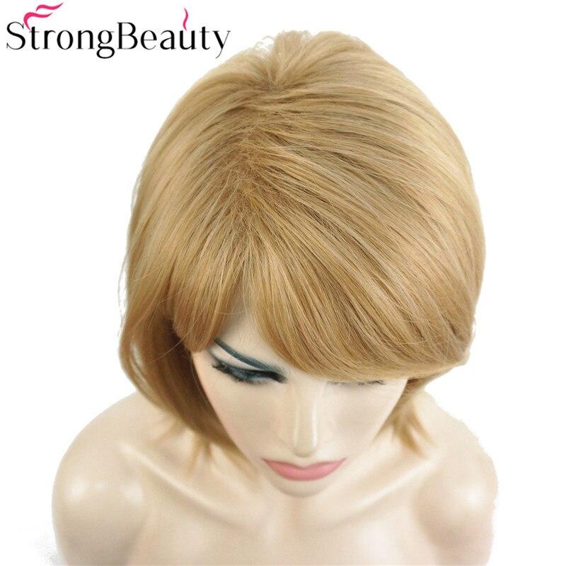 StrongBeauty Short Natural Straight Golden Blonde Wig - Syntetiskt hår - Foto 6