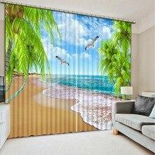 3d шторы печать 3D затемненные шторы для гостиной постельные принадлежности комнатные шторы Cotinas para sala Современная пляжная елка