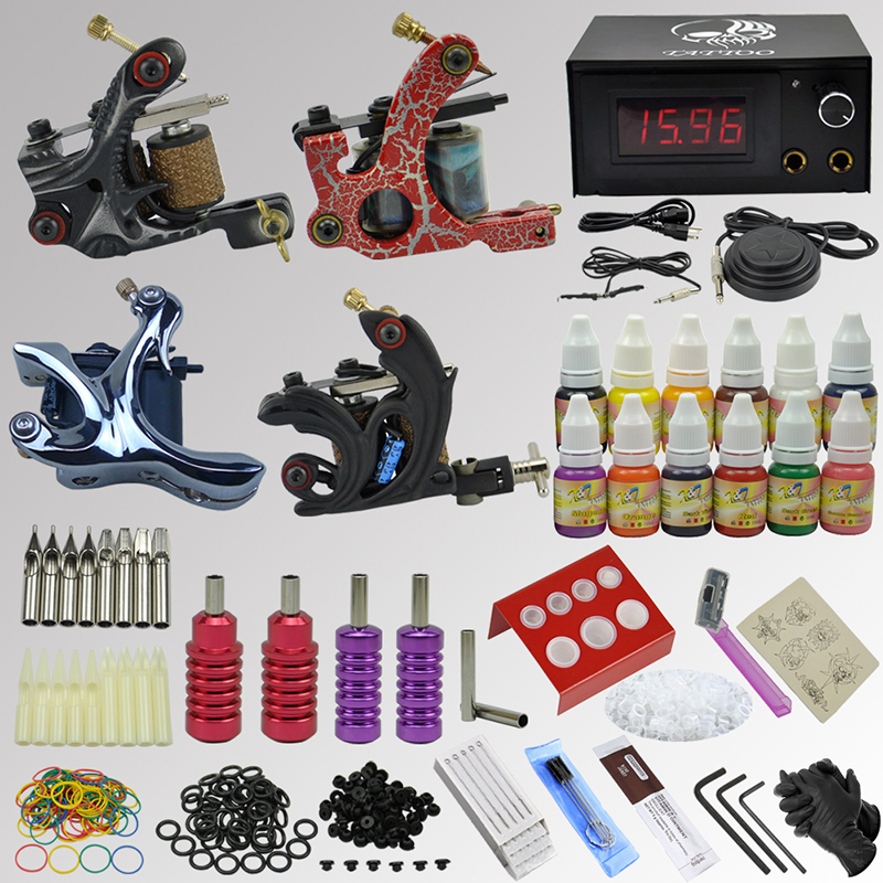 OPHIR Pro Complete Tattoo Kit 4 Electric Tattoo Machine Guns 12 Tattoo Ink Pigments Equipment Needles Tattoo Supplies Set_TA089 ophir 380pcs pro complete tattoo kit 3 tattoo machines guns 40 colors ink pigment tattoo supply power needles nozzles set ta005