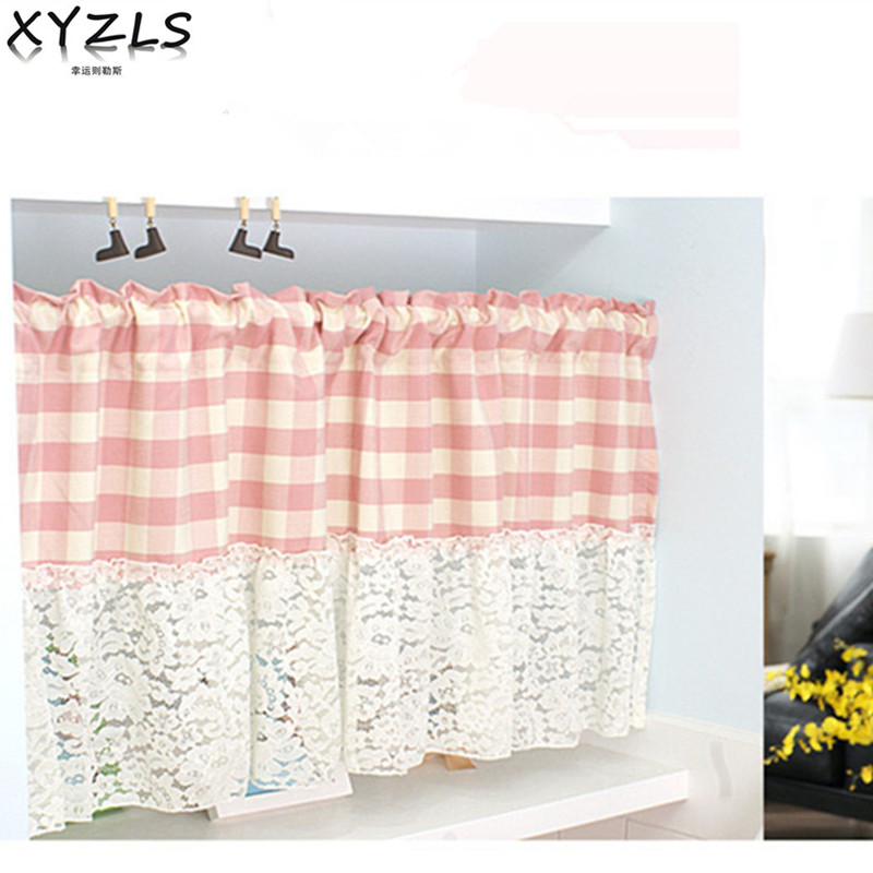XYZLS American Style Princess Cotton Lace Kitchen Curtains Cafe Curtain  Short Panel Drapes Door Curtains Valance For Home Decor