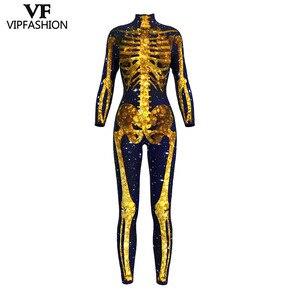 Image 4 - VIP FASHION 2019 New Goods 3D Skull Bone Skeleton Print Rompers Western Halloween Costumes For Ladies Jumpsuit Costplay Bodysuit