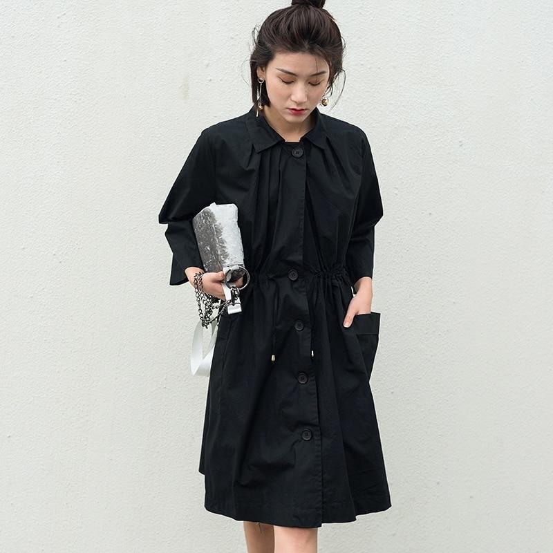 Arrivée Occasionnel Lady Poitrine qlzw Fold Black 2018 Mode Kb591 Nouvelle Unique Collar Femmes down khaki Automne Lâche Manteau Poches Turn 7aSqazxtn
