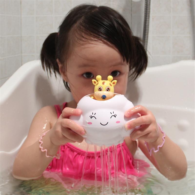 Baby Bath Toys Cartoon Plastic Giraffe&Cloud Shower Toys Boys Bath Toy For Girls Cognitive Floating Toy Kid Water Spraying Tool