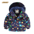 Cartoon Animals Graffiti Boys Warm Parkas Winter Hooded Jacket For Boy Cute Fashion Kids Outerwear & Coats Brand Boys Clothes