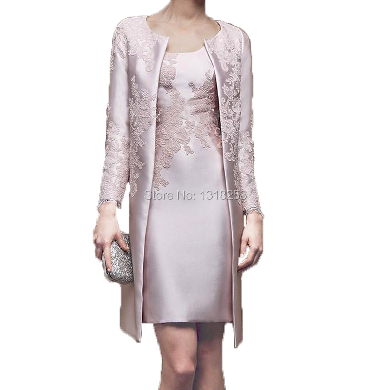With Long Sleeve Jacket Mother Of The Bride Groom Dresses Above Knee Length Womens Cocktail Gowns Outfit Coat 2 Piece Set Suit