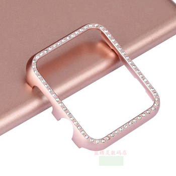 For Apple watch band cover Diamond 42mm/38/40 44 series 4/3/2/1 Aluminum alloy Frame bumper For iwatch 5 case protective shell protective anti radiation aviation aluminum alloy bumper frame case for iphone 5 5s golden