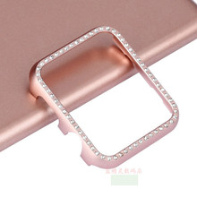 case For Apple watch band cover Diamond 42mm/38mm/40 44mm series 4/3/2/1 Aluminum alloy Frame bumper For iwatch protective shell(China)