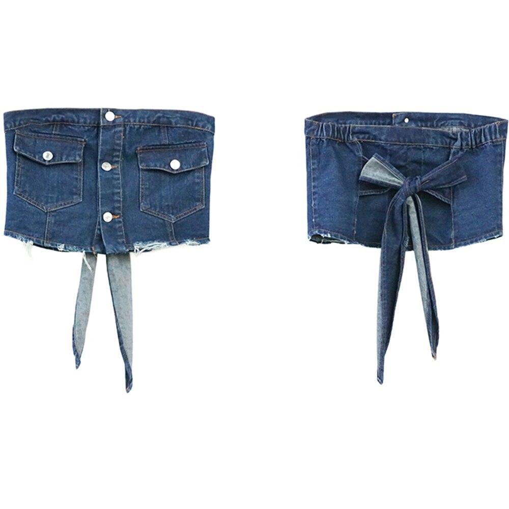 FTGSDONG 2019 Лето 2 шт Джинсовый комплект из двух частей шорты и топ комплект уличный стиль на шнуровке Топ без бретелей + сексуальные мини ремень для шортов - 4