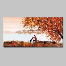Mintura Oil Paintings For Living Room Home Decor Acrylic Canvas Dogs and People Under a Maple Tree Poster Art Picture No Framed(China)
