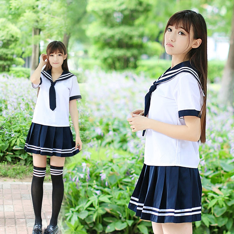 School Uniform Set Student Uniform Tie Sailor Suit Set Table Costume Japanese School Uniform Girl Summer