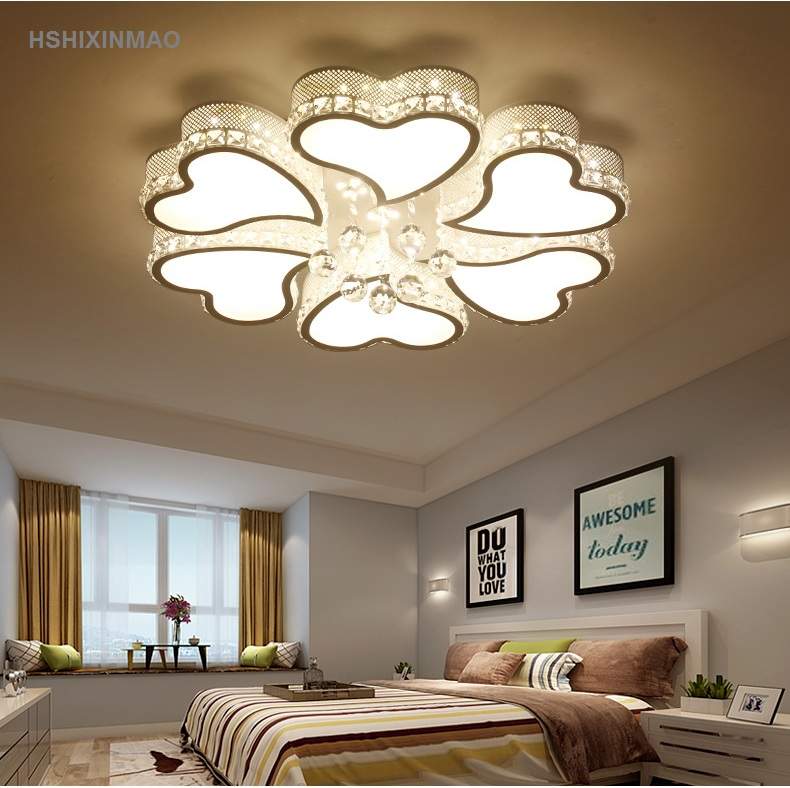 Creative heart-shaped living room LED ceiling lamp romantic bedroom study crystal simple modern Ceiling lights AC110-240V noosion modern led ceiling lamp for bedroom room black and white color with crystal plafon techo iluminacion lustre de plafond