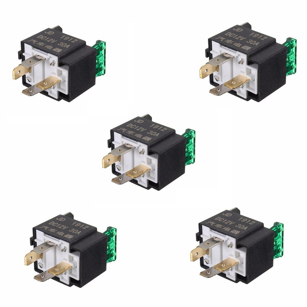5pcs 12v 30 Amp 4 Pin Car Vehicle Auto Metal Heavy Duty Relay Fuse Fused Spst