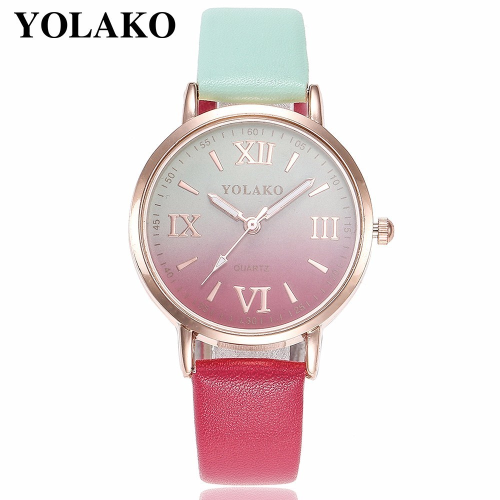 YOLAKO Brand Women Retro Gradient Rainbow Leather Belt Roma Watch Casual Luxury Ladies Sport Quartz Watches Relogio Feminino