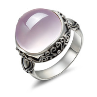 Long Baolong 925 Sterling Silver Jewelry Silver Natural Lotus Stone Powder Crystal Ring Finger Ring New