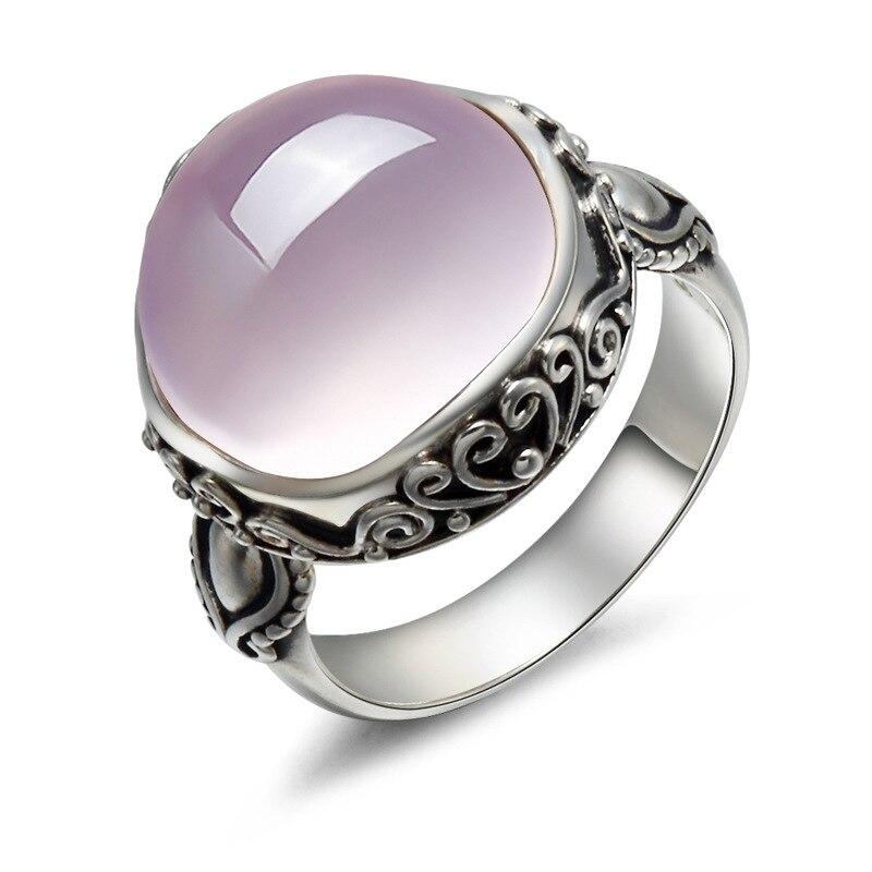 Longue Baolong 925 bijoux en argent sterling argent naturel lotus pierre poudre cristal anneau bague nouveau rétro mme