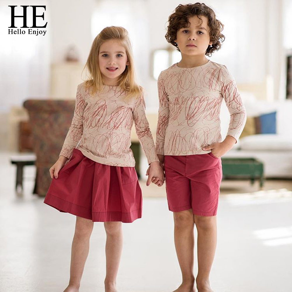 HE Hello Enjoy familia ropa hermana y hermano manga larga impresión Graffiti camiseta + falda roja y pantalones cortos familia ropa a juego