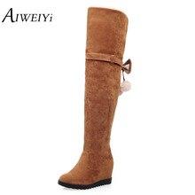 AIWEIYiผู้หญิงยืดF Aux S Uedeเวดจ์ขาสูงบู๊ทส์เซ็กซี่แฟชั่นบู๊ทส์กว่าเข่ารองเท้าส้นสูงผู้หญิงรองเท้าสีดำสีเทา