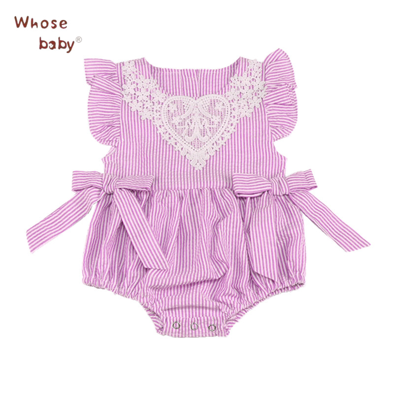 Summer Girls Bodysuit for Baby Striped Lace Newborns Clothes Flying Sleeve Infantil Jumpsuit Children Bodysuit Bow Clothing 2018 ...