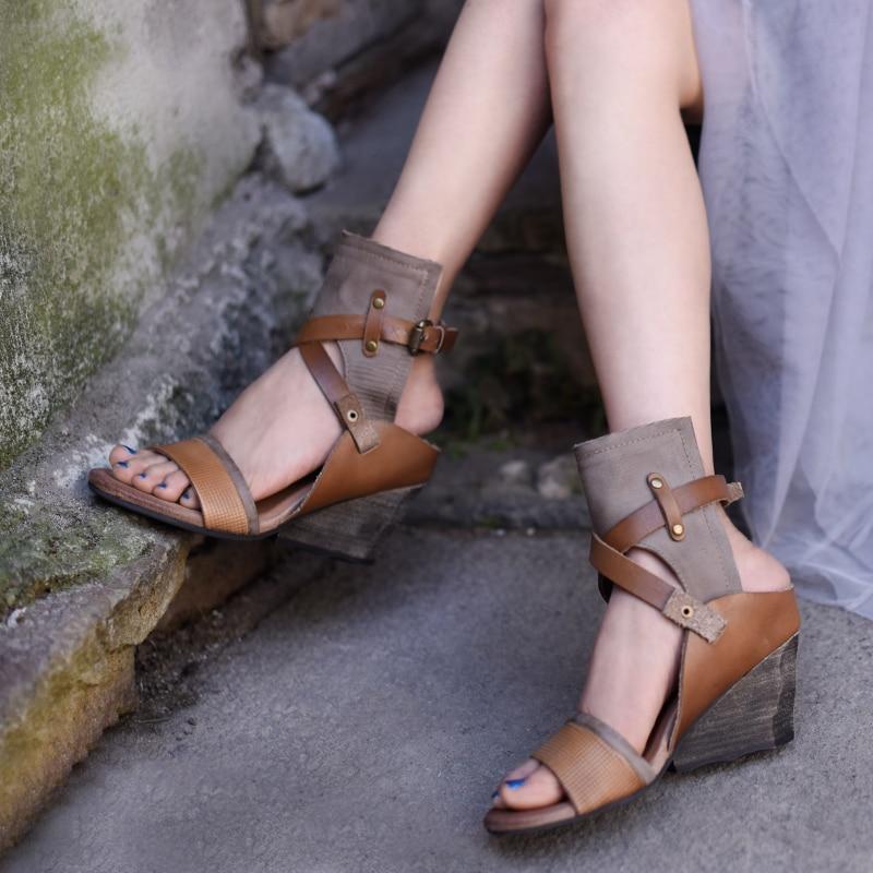 Artmu/оригинальные винтажные женские босоножки на танкетке, из натуральной кожи, ручной работы, с ремешком и пряжкой, босоножки на высоком каблуке, TM338 21