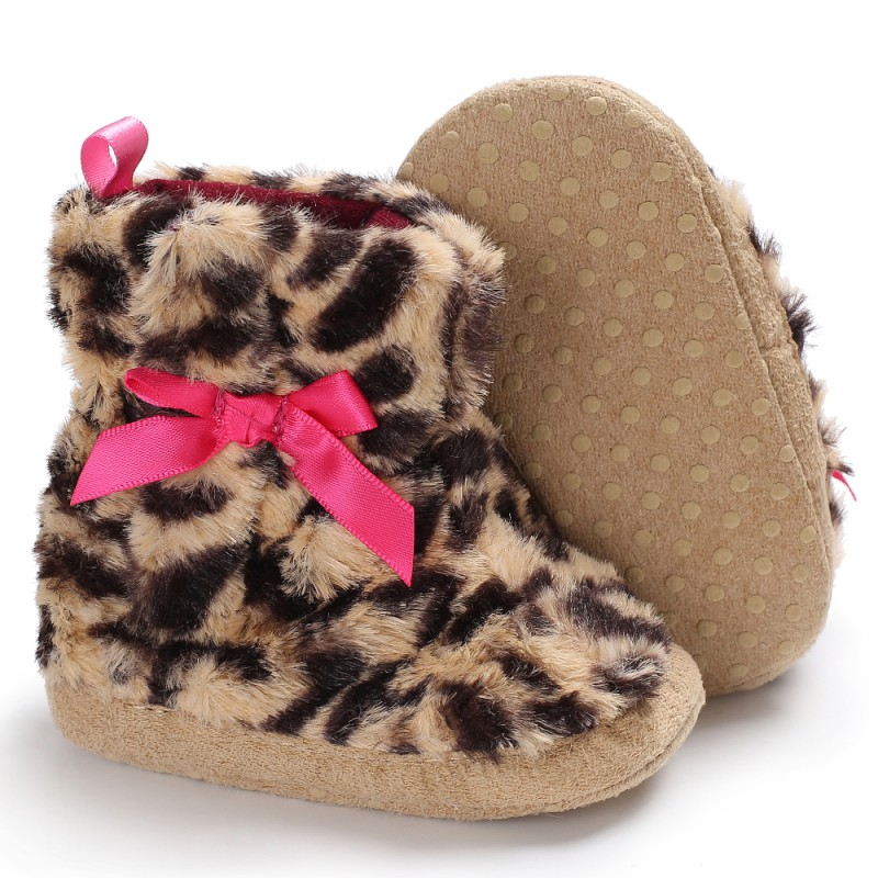 Love Leopard Cute Bow Non-slip Baby Toddler Shoes Winter Warm First Walkers For 0-1Y Cute Girl Baby