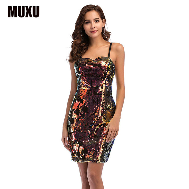MUXU summer sexy patchwork sequin dress suspender glitter backless womens  clothing jurk bodycon party dresses short jurk mini c2a8c297b00e