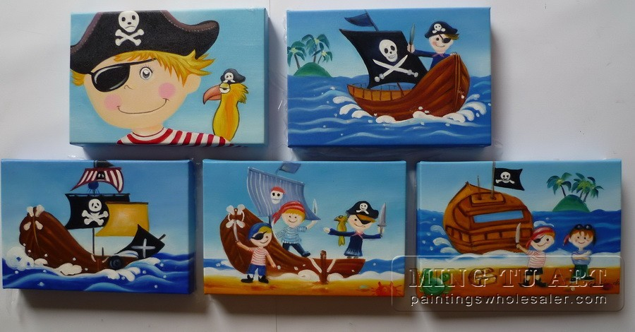 100 handmade framed cartoon pirate oil painting for kids for Canvas painting for kids room