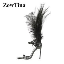 أسود جلد النساء المصارع حزام الصنادل تصميم ريشة رقيقة عالية الكعب الصيف السيدات Sandalias أحذية الأزياء فالنتينا مضخات