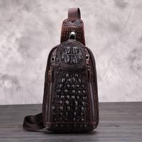 New Fashion Crocodile Style Men Chest Pack 100 Genuine Leather Shoulder Bag Alligator Messenger Bag Famous