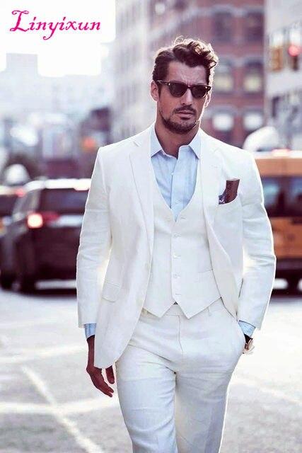 Online Shop Linyixun Groom Suits Wedding White Mens Suit 3 Pieces ...