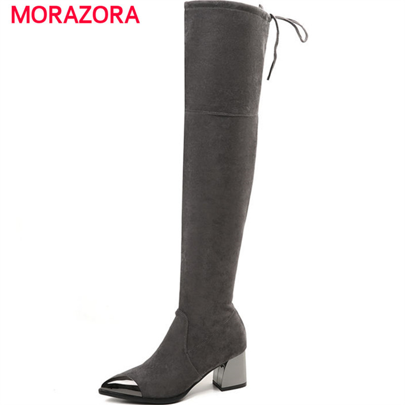 MORAZORA 2018 new slip on over th knee boots autumn winter short plush high heel women boots pointed toe kid suede leather boots