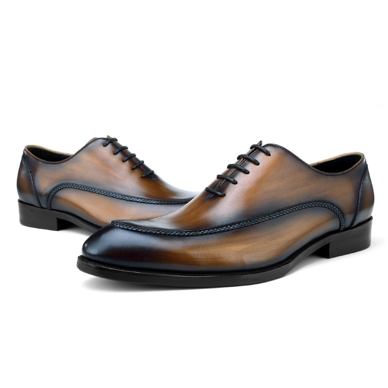 2019 Fashion Black / Brown Tan Pointed Toe Oxfords Mens Dress Shoes Genuine Leather Wedding Shoes Mens Business Shoes2019 Fashion Black / Brown Tan Pointed Toe Oxfords Mens Dress Shoes Genuine Leather Wedding Shoes Mens Business Shoes