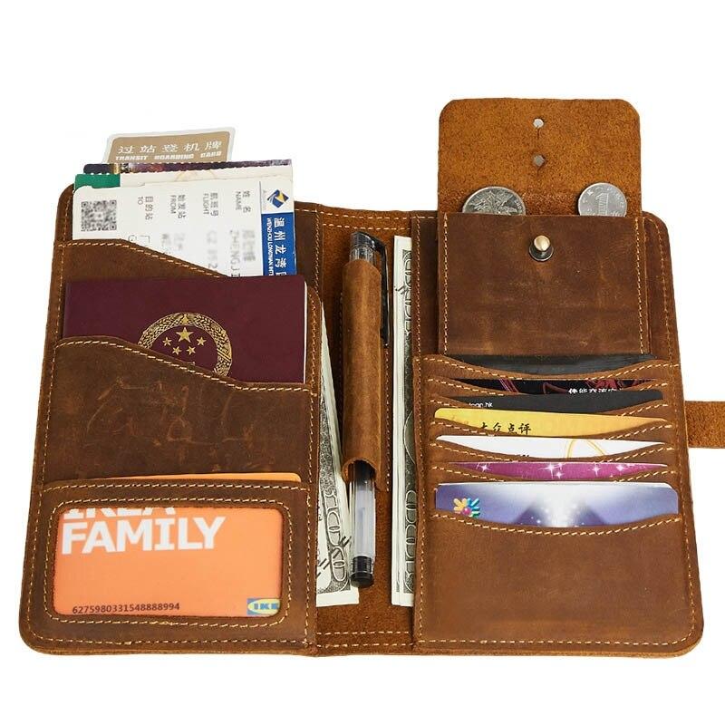 Véritable cheval fou en cuir voyage passeport couverture portefeuille affaires crédit porte-carte Long portefeuille monnaie poche pour homme
